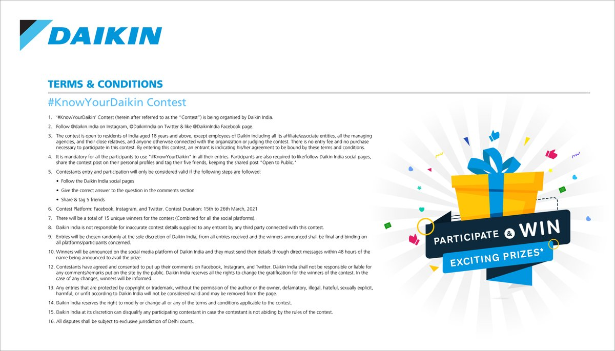 Here are the KnowYourDaikin Contest Terms and Conditions. https t.co c1vyoZWo8c