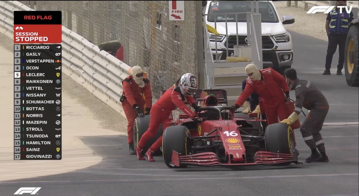 Leclerc fermo in pista - i tempi