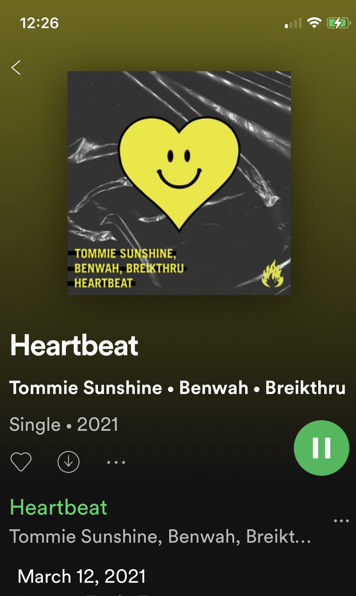 """Thanks Spotify!   New Breikthru + Tommie Sunshine + Benwah   """"HEARTBEAT"""" Available NOW!   #FridayCrateDiggers  #NewMusicFriday   open.spotify.com/track/1a2FL2OC…"""