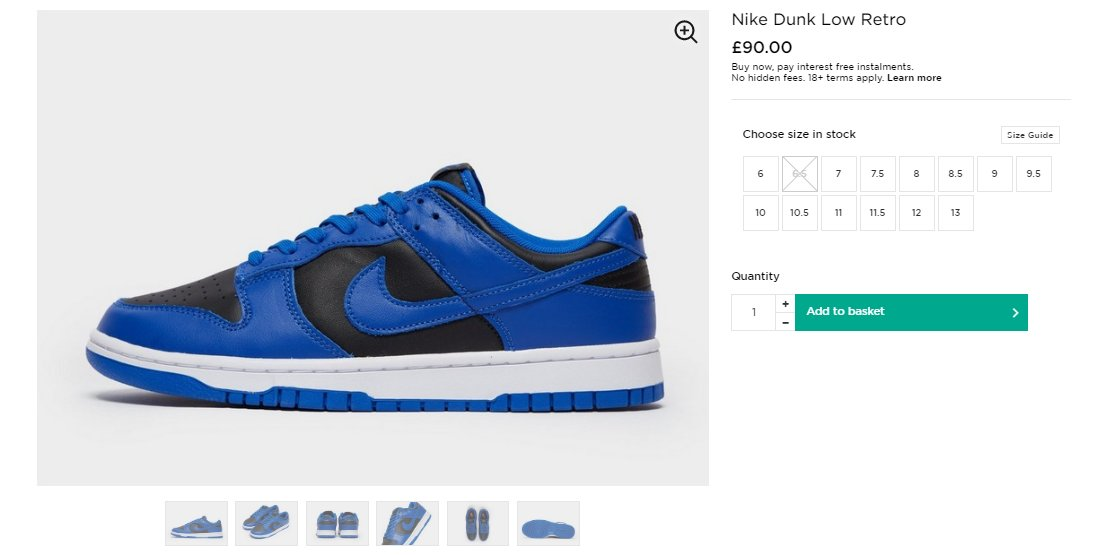 Sizes checking out again: Nike Dunk Low