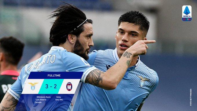 Hasil akhir Lazio 3-2 Crotone