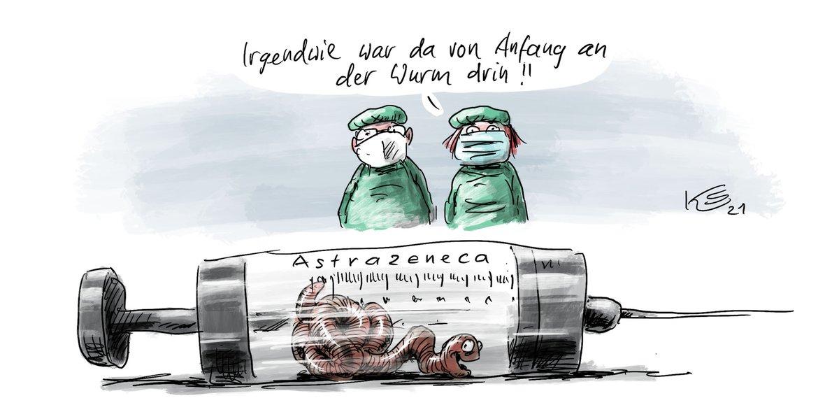 """Tagesspiegel on Twitter: """"Bei #AstraZeneca scheint wohl der Wurm drin zu  sein. Eine Karikatur von Klaus #Stuttmann.… """""""