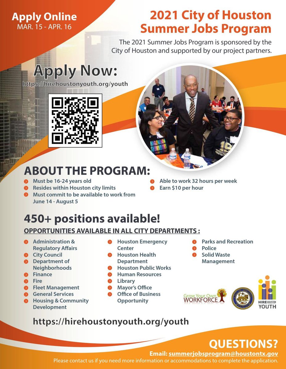 Houston Mayor S Office On Twitter Today We Kicked Off The 2021 Hirehouyouth Summer Jobs Program For Young People Ages 16 To 24 The Job Board Will Open Monday March 15 Positions Are