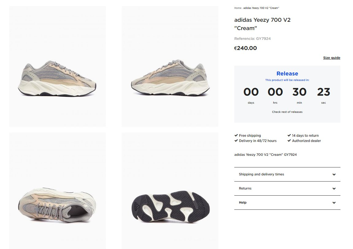 Live in 30 minutes via Footdistrict: adidas Yeezy Boost 700 V2