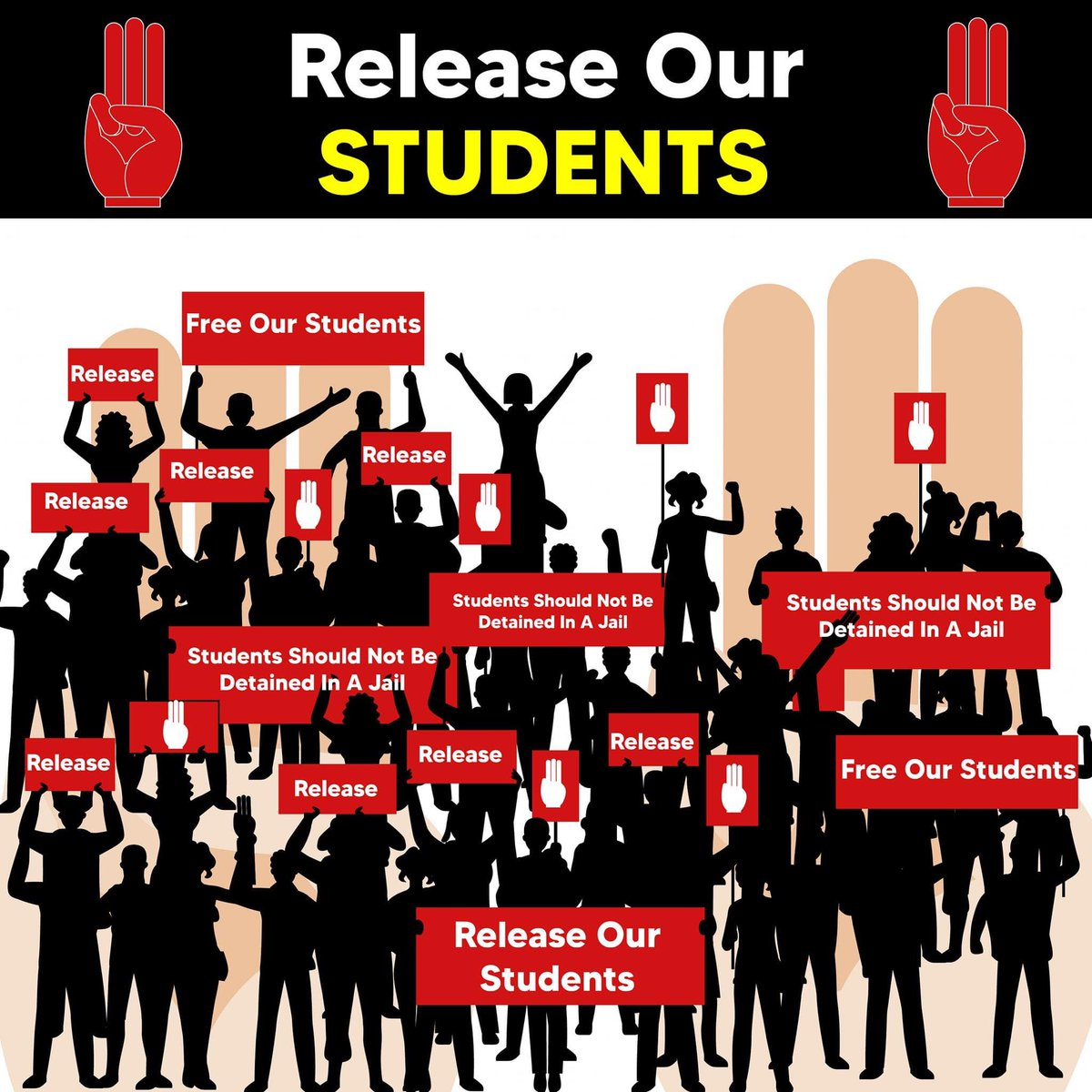 More than 400 students from different universities, including Yangon university, have been detained since 3rd March 2021. The students have been detained without reasonable ground. One cannot be detained for more than 24 hours but it has been 240 hours. https://t.co/irn2nyZNku