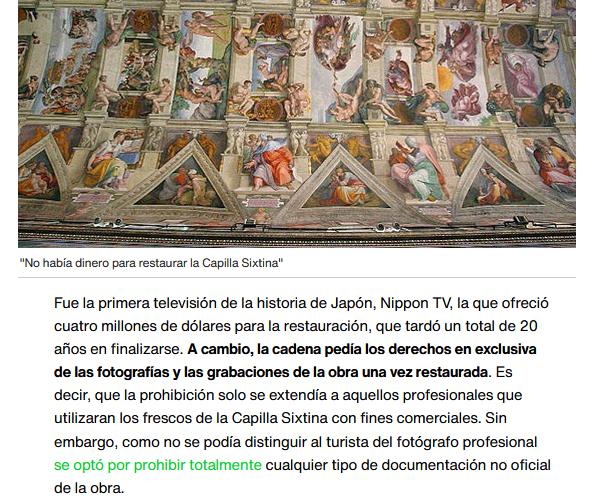 La #CapillaSixtina, el origen de la prohibición de hacer fotos en museos, según este artículo  💲💲💲