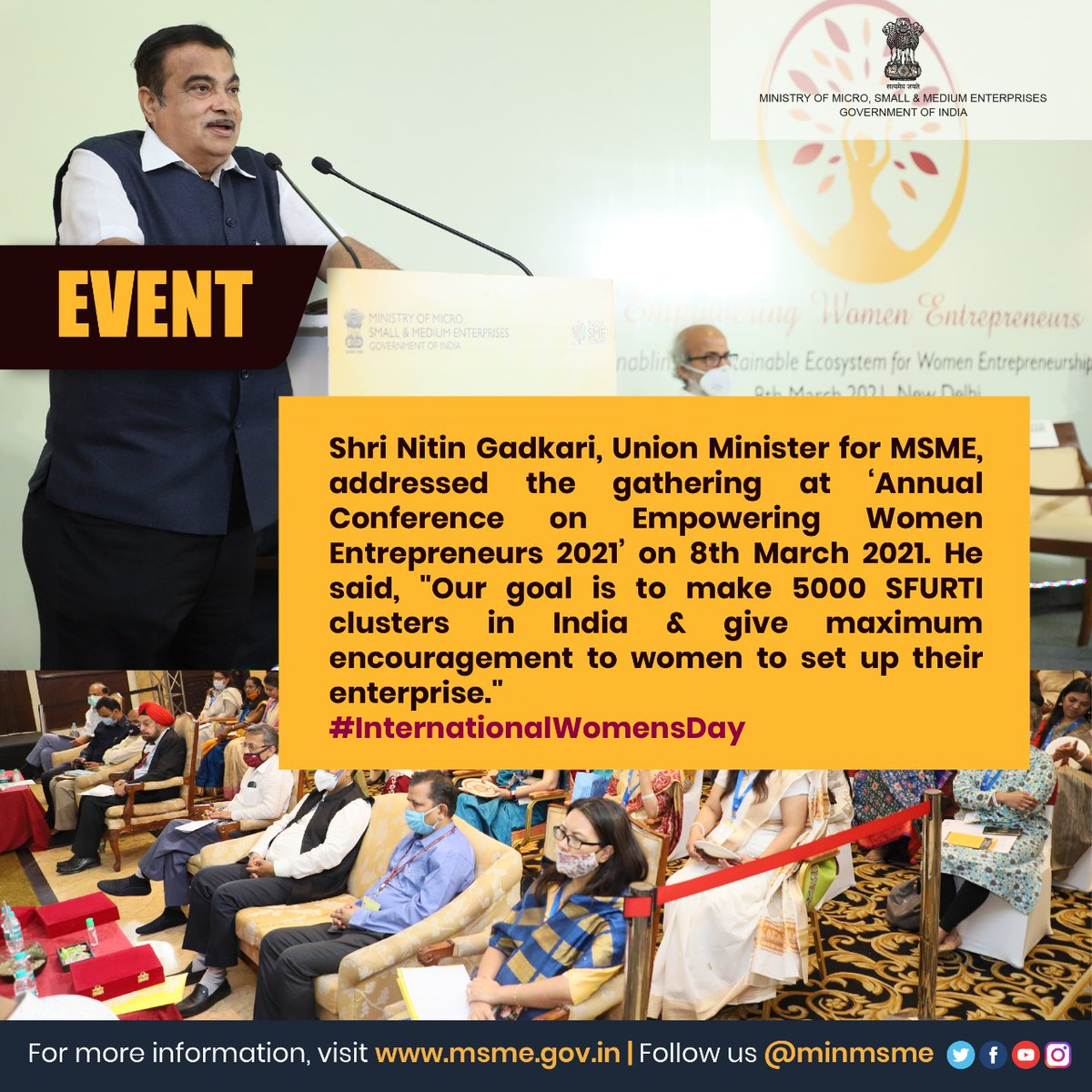 Shri Nitin Gadkari, Union Minister for MSME, addressing the women entrepreneurs at the 'Annual Conference on Empowering Women Entrepreneurs 2021' on 8th March 2021. #InternationalWomensDay2021 #MSME