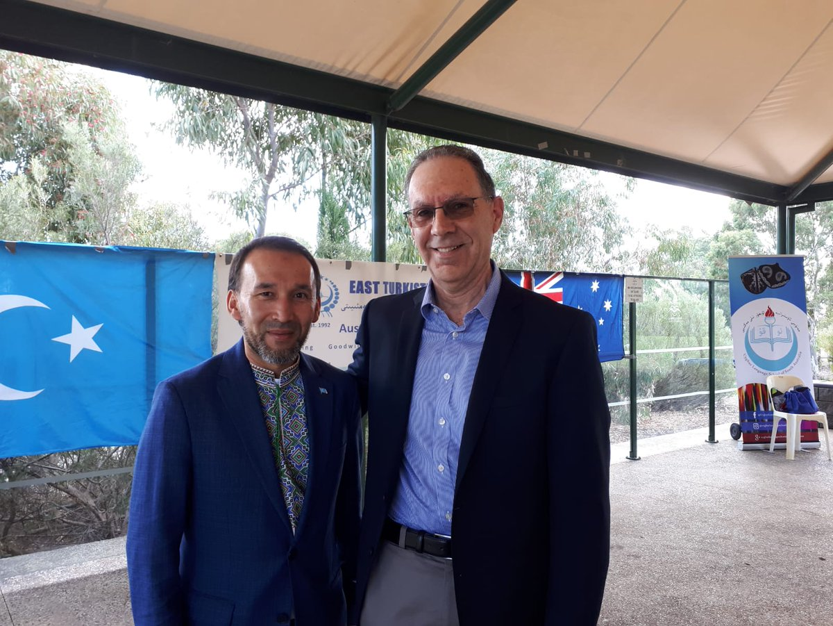 "Australian Jewish Association's tweet - ""AJA stands clearly in calling out appalling CCP persecution of Uyghurs. Dr David Adler, AJA President, in Adelaide with Nurmuhammad Najid, President, East Turkistan Australian Association. A"