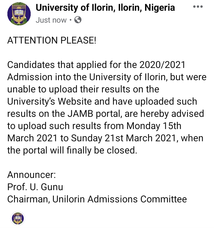 UNILORIN Important Updates on Results Upload for UTME Candidates 2020/2021