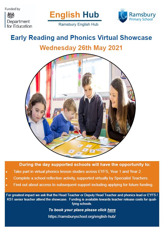 The Ramsbury English Hub @ramsburyenghub is holding an Early Reading and Phonics Virtual Showcase event on 26th May for Primary Heads/Deputies. Virtual lesson studies, reflection, and funding advice. Book here: https://t.co/yzaJtzLhEj