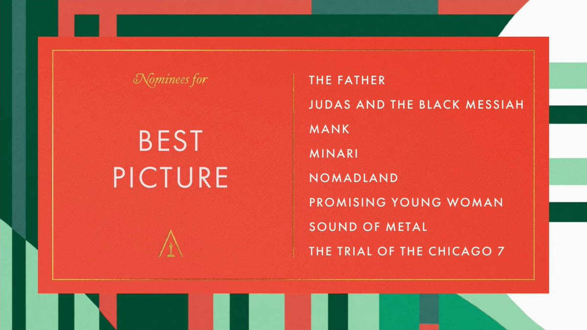 """On The Red Carpet on Twitter: """"#Oscars 2021: The nominees for Best Picture  are... - """"The Father"""" - """"Judas and the Black Messiah"""" - """"Mank"""" - """"Minari"""" -  """"Nomadland"""" - """"Promising Young"""