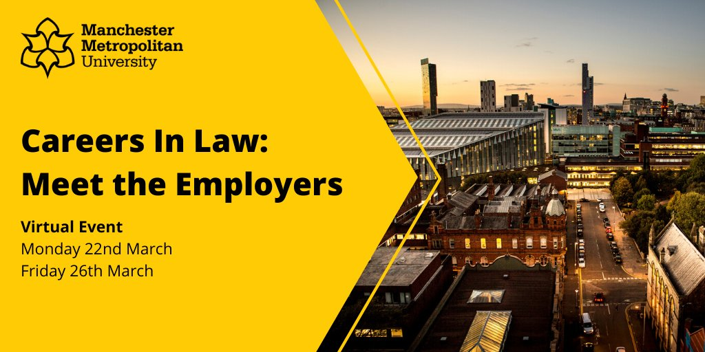 """Join our virtual """"Meet the Employers"""" events to hear about the skills, experience, and attributes that legal employers like to see in job applications.   Open to all @mmu_law students: https://t.co/1ZGTwnXWwr https://t.co/M0doBbXq1l"""