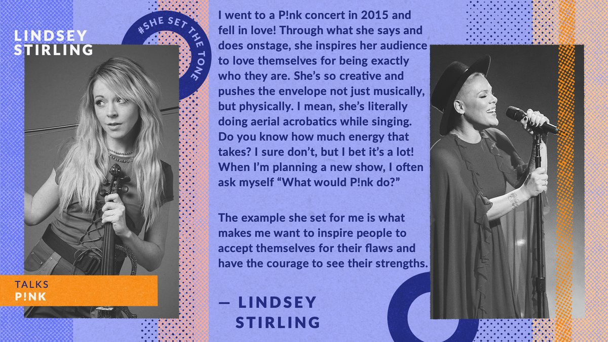 Violinist extraordinaire @LindseyStirling tells us about the ways in which pop icon @Pink continues to inspire her artistic journey. #SheSetTheTone  #WomensHistoryMonth https://t.co/3Y1sFn2jt3