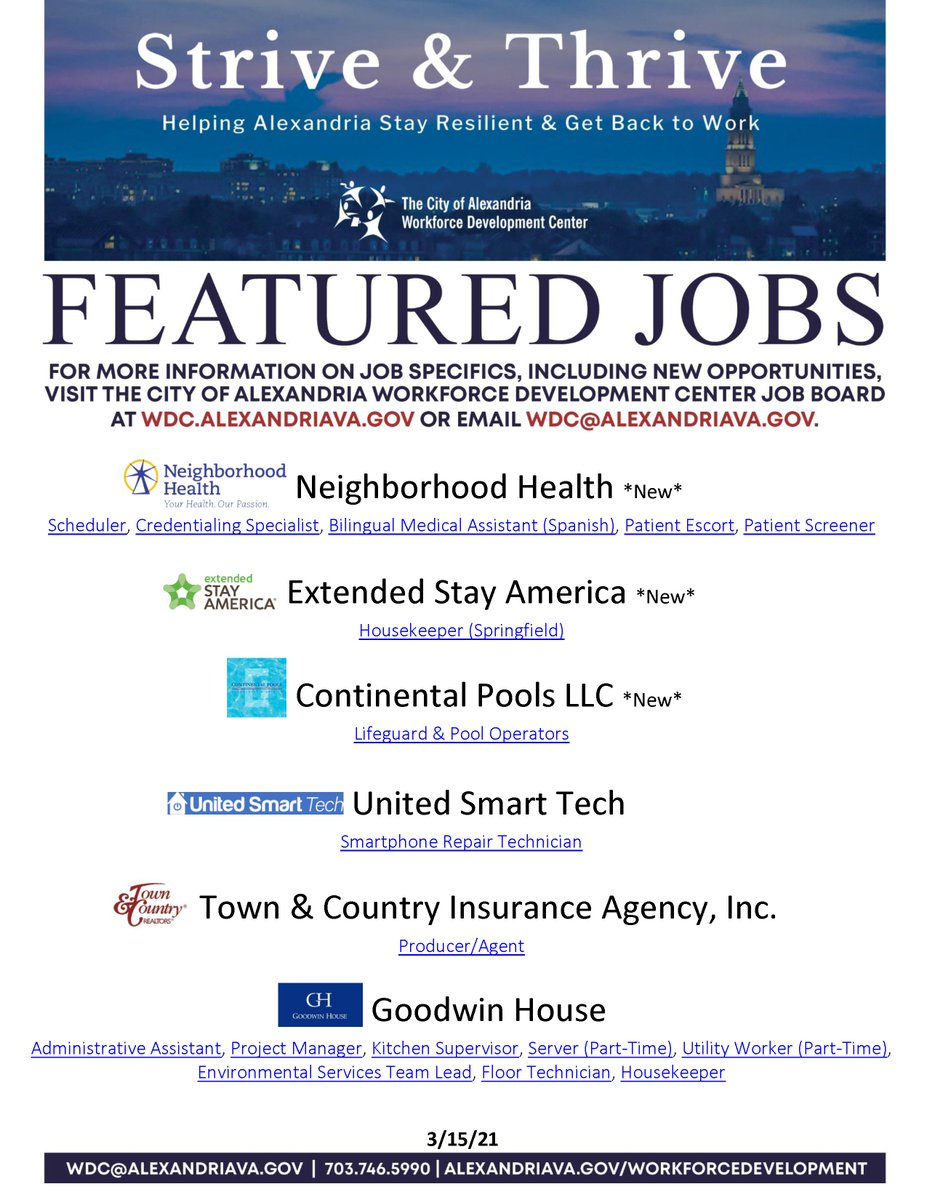 Wdc Alexandria Va On Twitter The Following Employers Are Now Hiring Visit The Wdc Job Board At Https T Co Lznlgge1ij For Specifics On The Positions Below As Well As Other Opportunities Https T Co V4k24aovbm