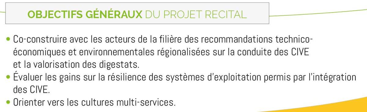 Projet #RECITAL 4 actions clés sur les #CIVE 1️⃣Constitution d'un réseau expérimental  2️⃣Évaluation économique et environnementale  3️⃣Construction de recommandations 4️⃣Diffusion des résultats @AILEAgence @Arvalisofficiel @ChambagriFrance @GRDF  #Méthanisation #biogaz #digestat