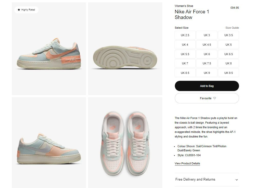 Sizes checking out now: Nike Air Force 1 Shadow