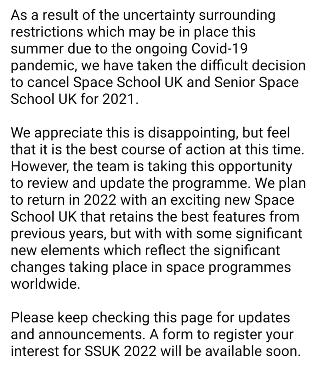 We have taken the difficult decision to cancel Space School UK 2021, but we look forward to returning in 2022. Please see our statement below.