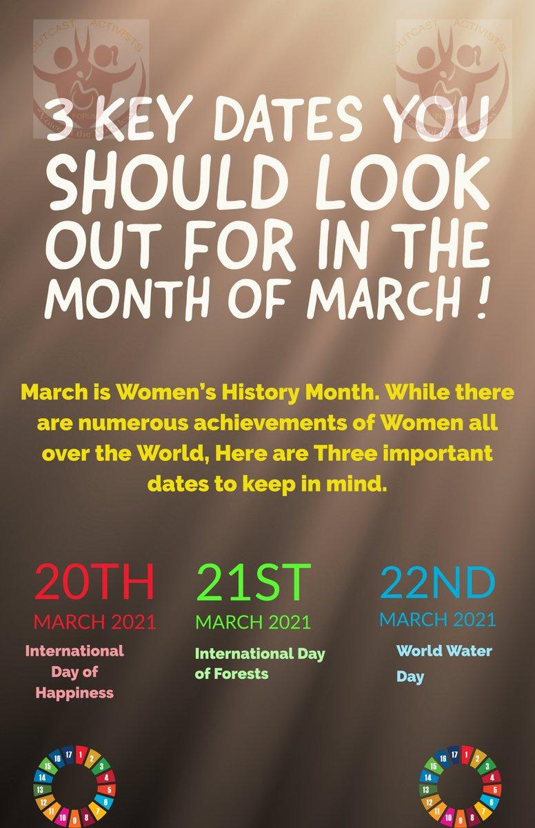 We love the Month of March don't we? Look out for: #WomensHistoryMonth  #internationalwomensday2021   #InternationalDayOfHappiness #InternationalDayOfForests #WorldWaterDay   @Sharonatyang2 @KisaSharifah @loveth_emerald  @dsmileoutreach @mpc_ug @CareerUganda  @YALINetwork