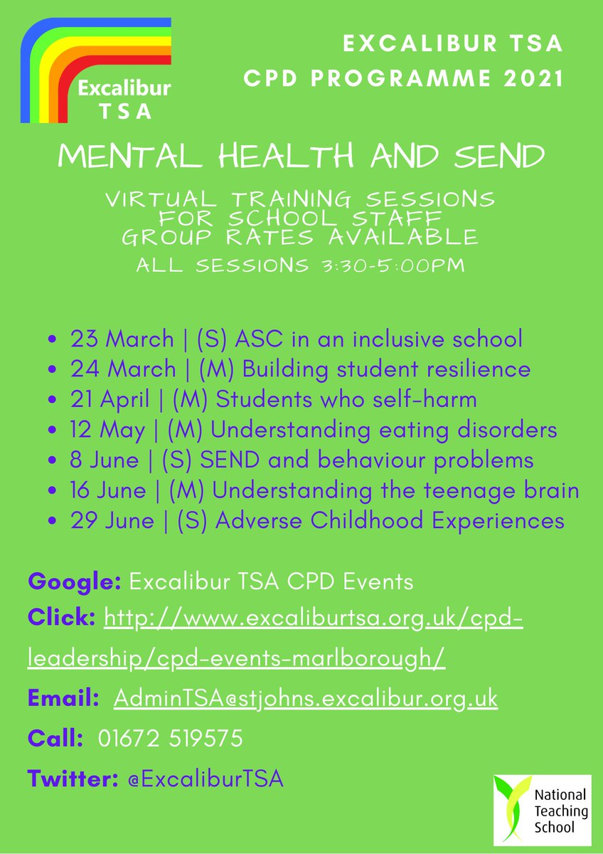 We're offering two more remote CPD sessions next week. Tue 23/3: SEND- Understanding Autistic Spectrum Conditions and building an inclusive school, and on Wed 24/3: Mental Health- Building Student Resilience. More here: https://t.co/AXBYZK8REa @CharlieWallerUK @RowdefordSchool