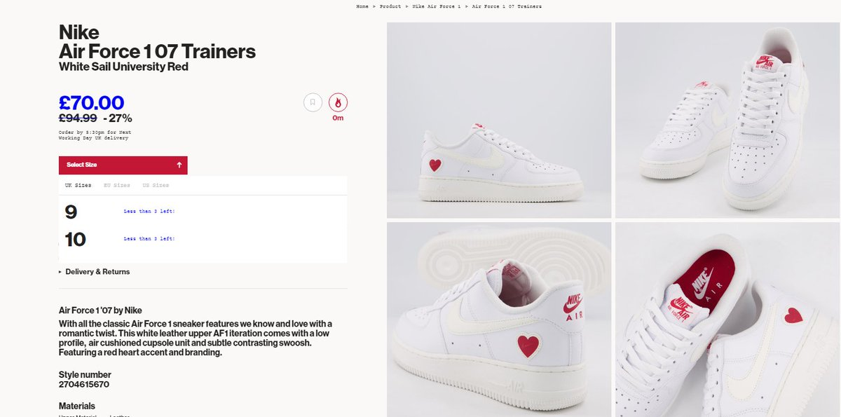 Two sizes restocked + on sale: Nike Air Force 1