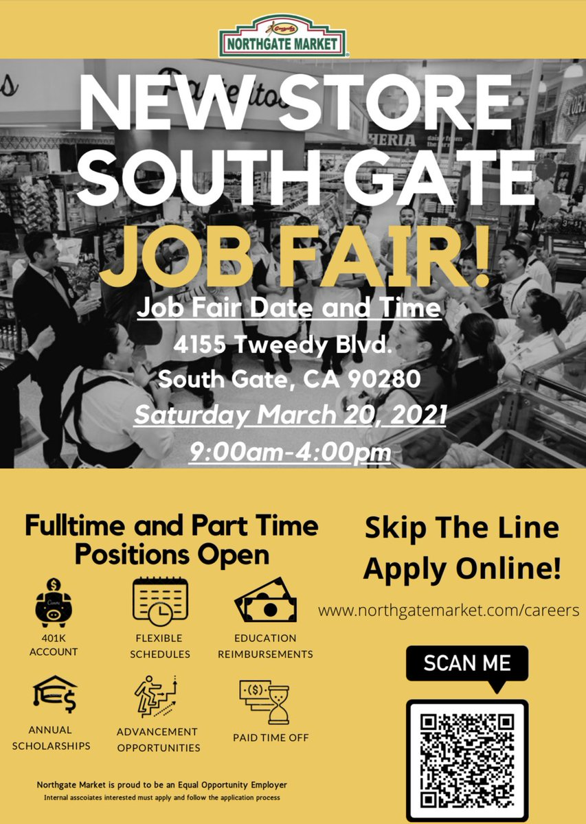 Join us this Saturday in South Gate!  New Store Job Fair!   Apply here: https://t.co/yR9QJ4iQO8 https://t.co/GgEkM2MPFY