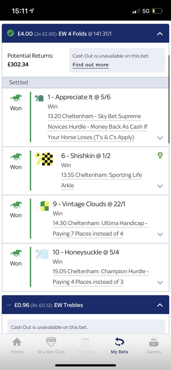 #CheltenhamFestival Day One done right...  Has anyone managed a better winner than this? 💪  📃 @LiamWarren37   #BeatingTheBookie https://t.co/3ZR3i8mnZI