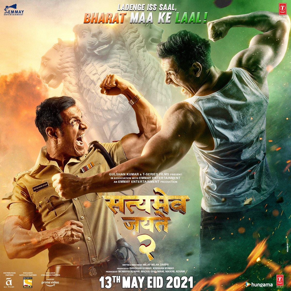 This EID it's JOHN vs JOHN as #SatyamevaJayate2 releases on 13th May 2021! LADENGE iss SAAL, dono BHARAT MAA KE LAAL!  @TheJohnAbraham @iamDivyaKhosla #MilapZaveri @monishaadvani @madhubhojwani @nikkhiladvani #BhushanKumar #KrishanKumar @EmmayEntertain @TSeries @AAFilmsIndia