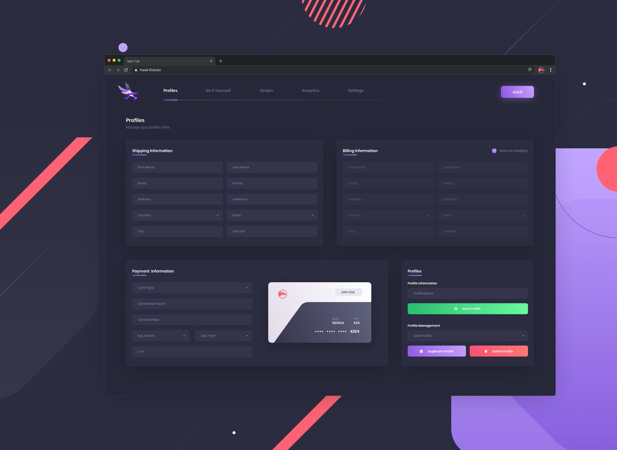 Profile Management 👥  Easily create, manage, and switch between your profiles to checkout across all of our supported sites! https://t.co/UsXPFQI9Zo