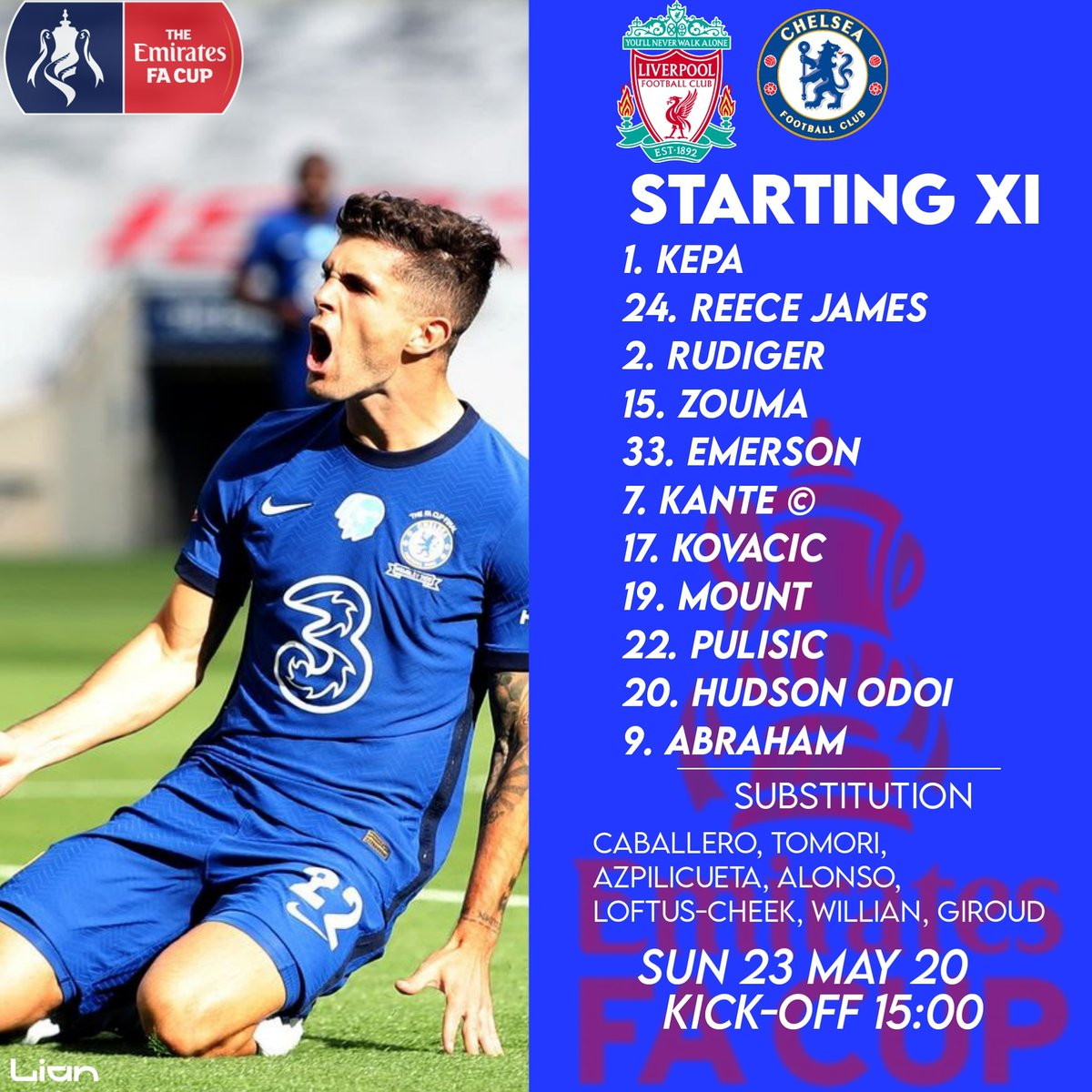 Team news is in! Final FA Cup will begin.  #FootbalManager #FM20 #CareerMode #Lian #Chelsea #CFC #LIVCHE #Indonesia https://t.co/OW87SxodFb