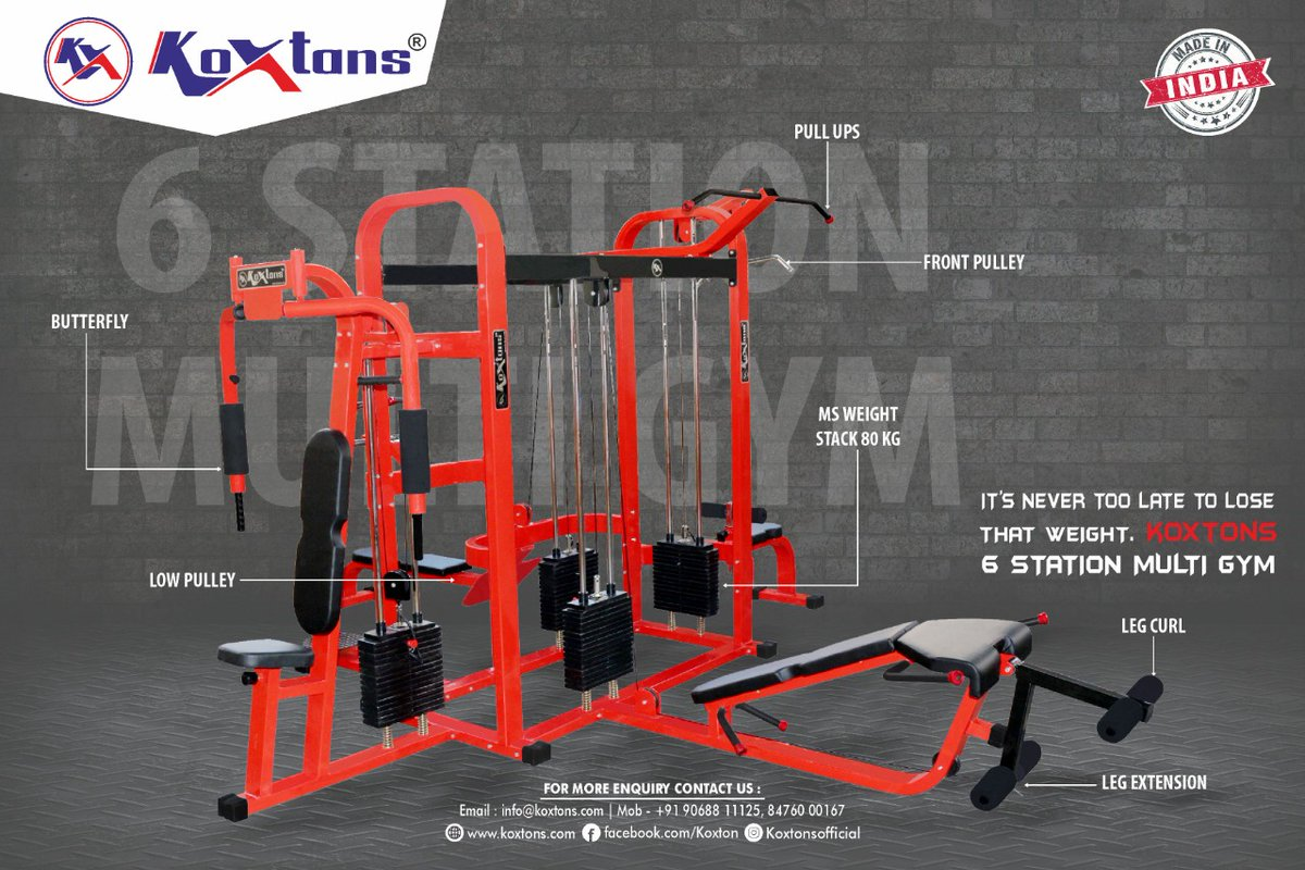 The KOXTONS 6 STATION MultiGym features a complete gym system.This provides a range of exercises making this one of the most versatile training gym systems on the market today. Visit https://t.co/lMNXHnQaNt or DM on 9068811125  #MultiStationGym #fitness #gym #gymmotivation https://t.co/6KLVmWcqnY