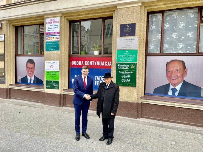 Marcin Warchoł z byłym prezydentem Rzeszowa Tadeuszem Ferencem, 17 marca 2021, źródło: profil Marcina Warchoła na Twitterze