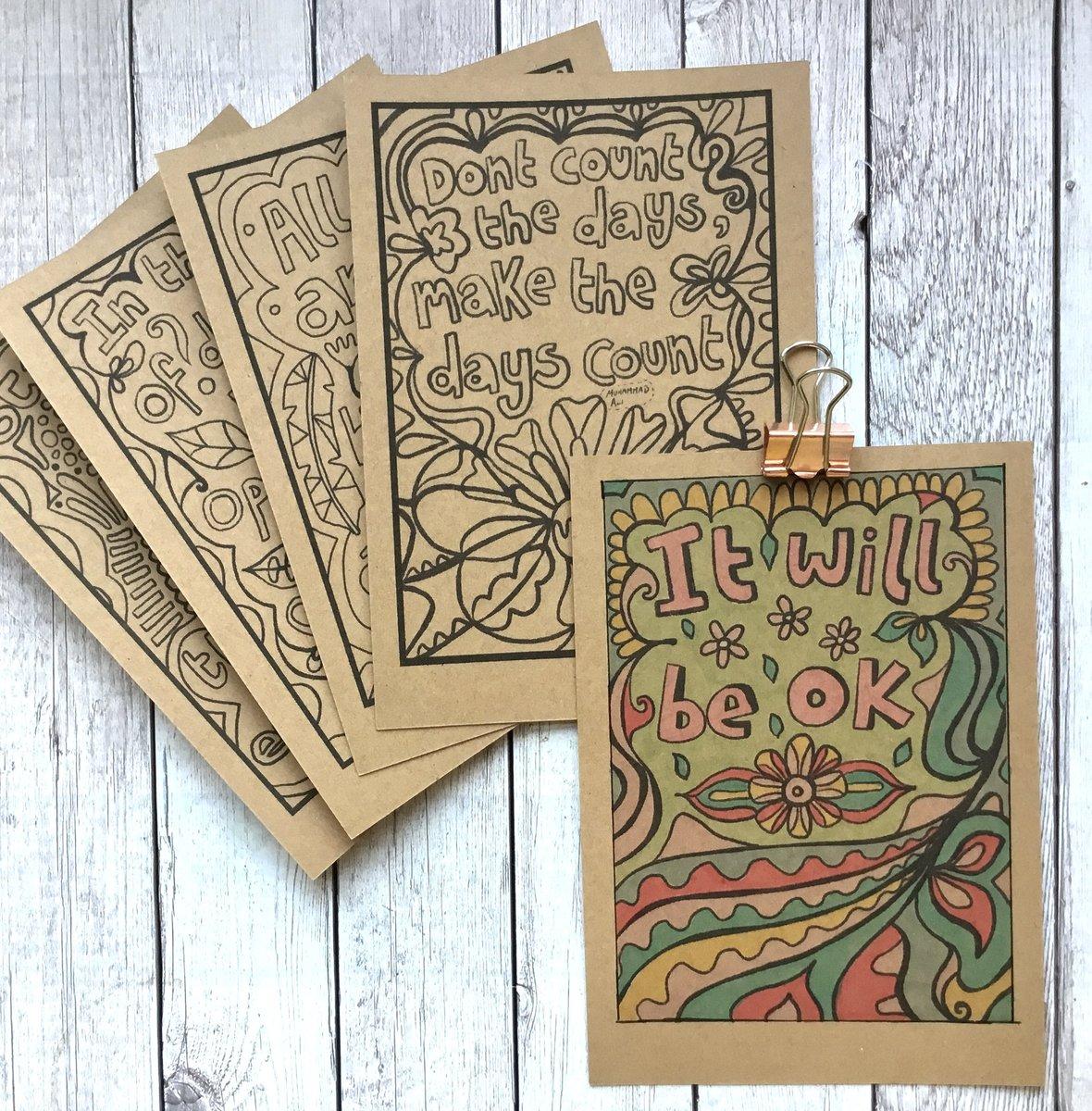 Office Decor. Colour In Postcards Positive Postcard Set Inspirational Mini Quote Prints Motivational Postcards