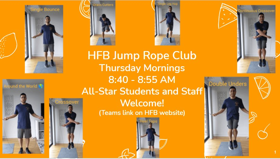 Don't forget...HFB Jump Rope Club tomorrow morning! <a target='_blank' href='https://t.co/bMvCUSNZY1'>https://t.co/bMvCUSNZY1</a>