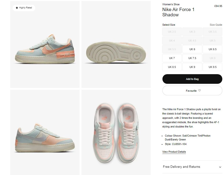 Ad: Last sizes of the Nike Air Force 1 Shadow