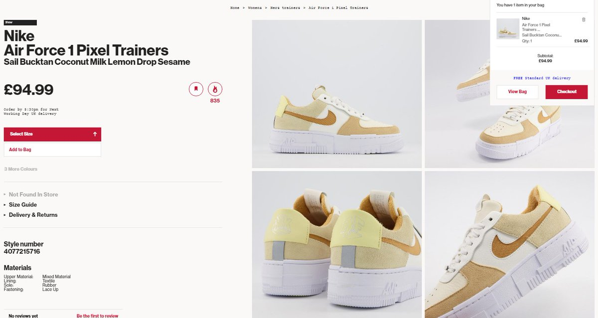 Sizes adding to cart: Nike Air Force 1 Pixel 'Coconut Milk'