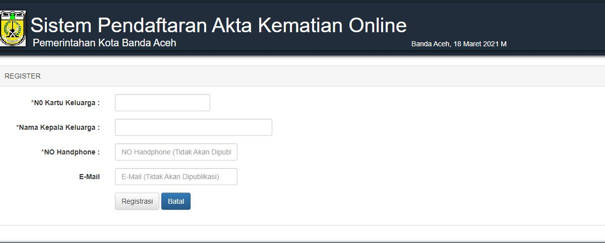 Laman pendaftaran akta kematian online kota Banda Aceh