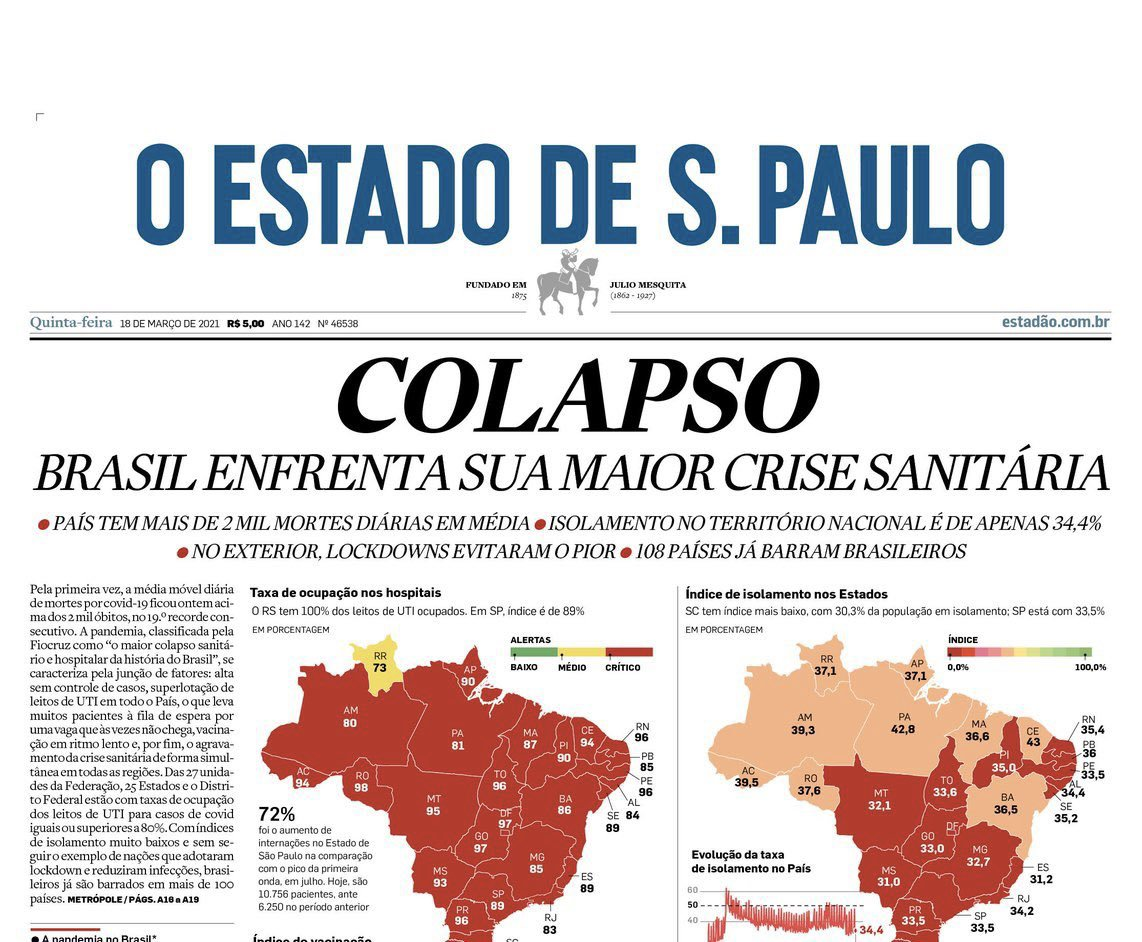 """Colapso�. It certainly doesn't look good with the COVID-19 situation in 🇧🇷. From @OliverStuenkel"