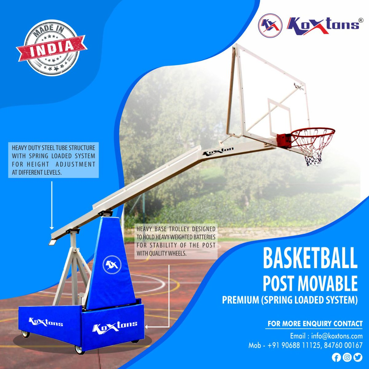 Durability is what you're looking for in a Movable Basketball Post,then you've stumbled upon the right product. KOXTONS Basketball Post Movable is enormously durable and gives you more than expectations. Visit https://t.co/lMNXHo7Mc3 or DM on 9068811125 #basketball #outdoorsports https://t.co/D8m2AEkX2v