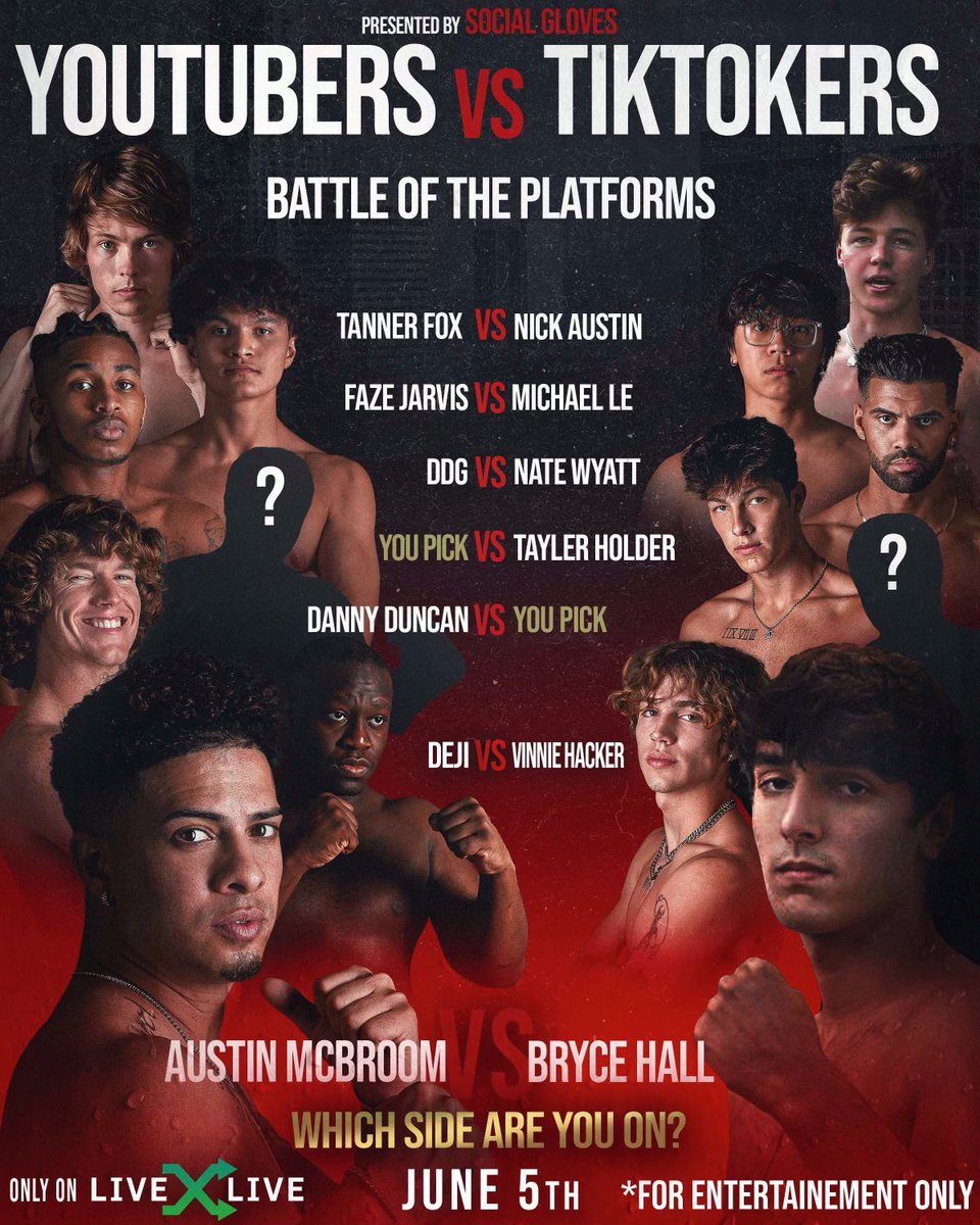 ANNOUNCING SOCIAL GLOVES: Battle of the Platforms 🥊 The world's biggest TikTok & YouTube stars will face off in this historic live boxing & entertainment event, ft @AustinMcbroom, @BryceHall, @DannyDuncan69 & more. Streaming June 2021, only on LiveXLive. More details coming soon https://t.co/yw8rVO4ojP