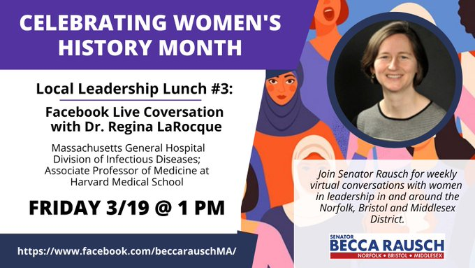 Senator Becca Rausch:  #LocalLeadershipLunch with Dr. Regina LaRocque - Mar 19, 1 PM
