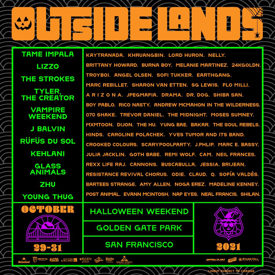 Outside Lands 2021 lineup