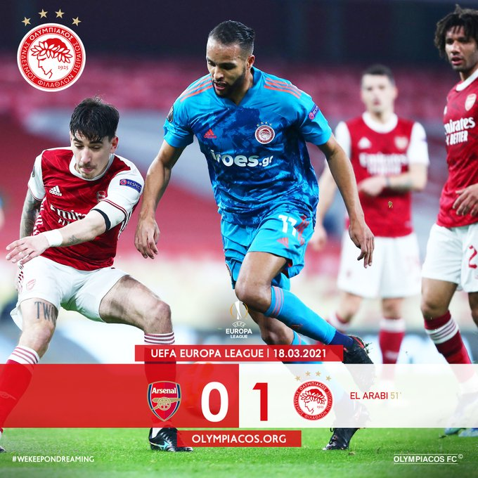 Skor akhir Arsenal 0-1 Olympiacos