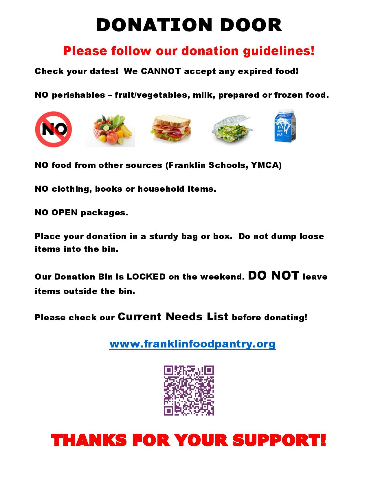 Franklin Food Pantry donation reminders