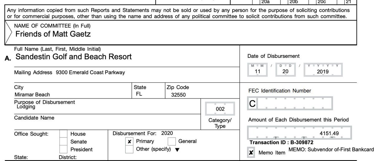 Here are a few of Matt Gaetz's campaign expenses that must be investigated.  $4,151.49 Sandestin Golf & Beach Resort $2,377.95 Marriott $2,001 Trump DC Hotel $1,928 American Air Lines  9/10 Ethics Cmte Members are tagged in this post. Please RT, QT, reply, etc. https://t.co/qvNEi3dsBk