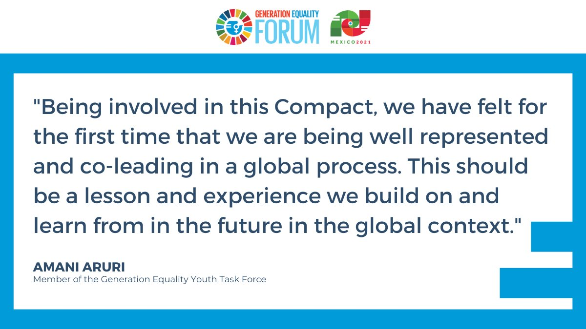 Hear @AruriAmani, member of the @Beijing25Youth Task Force and a leader for the Compact on Women, Peace and Security and Humanitarian Action.  She called for youth representation at the table during the #GenerationEquality Forum in Mexico. #ActForEqual https://t.co/lXlk1JiA2O