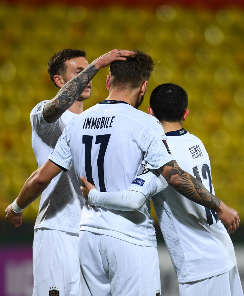 Selebrasi pemain Timnas Italia setelah gol Ciro Immobile ke gawang Lithuania