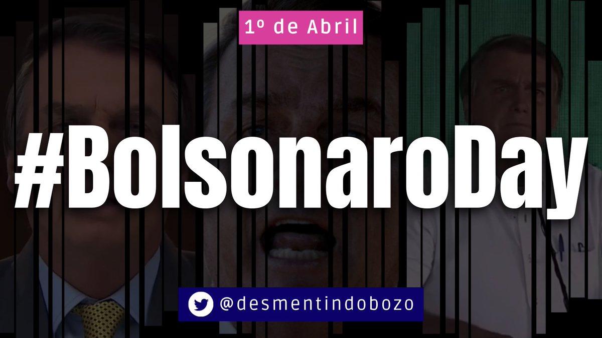 Hoje é um grande dia. O momento de celebrarmos o #BolsonaroDay.  De hora em hora vamos relembrar um vídeo desmentindo alguma lorota do presidente. Além disso teremos vídeo novo e uma ação que divulgaremos no decorrer do dia.  Vamos juntos? Senta o dedo na #BolsonaroDay. https://t.co/w1kuZ0k1sW