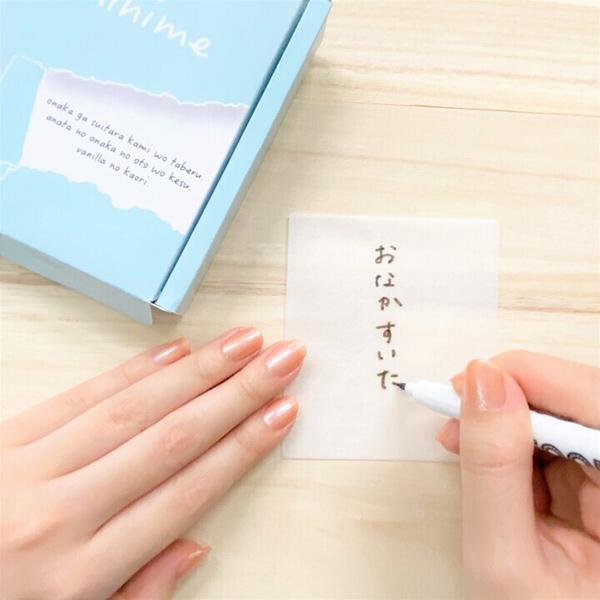 書いたらムシャムシャ食べられるメモ帳が登場!?食用インクを採用したフードペンを使った『kamihime』に注目!