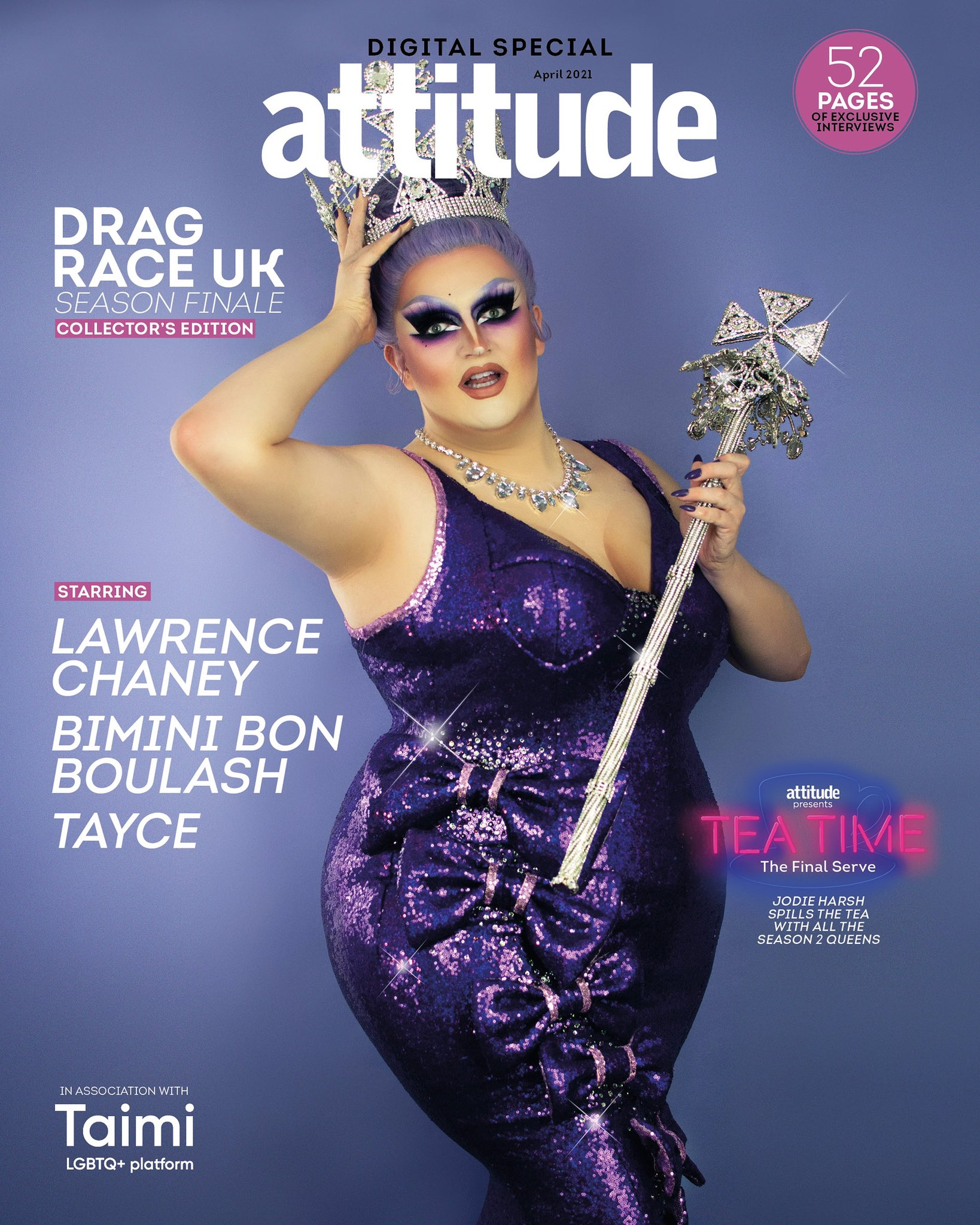 """Lawrence Chaney on Twitter: """"So delighted to be the Cover Girl repping  @dragraceukbbc for Attitude's 'Tea Time' Drag Race UK special! 🏁 Available  from https://t.co/Y7ubbs7cnR or @AttitudeMag 💜😭👑…  https://t.co/rFN8DMx8S8"""""""