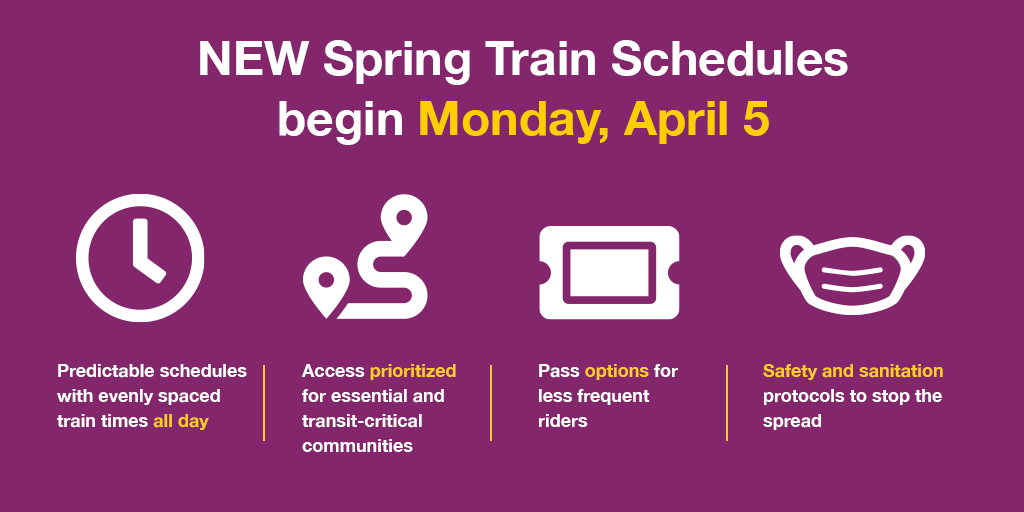 MBTA Commuter Rail: new spring schedules effective April 5, 2021